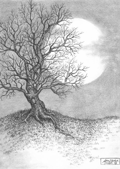 Pen And Ink Greeting Card featuring the drawing October Moon by Adam Zebediah Joseph