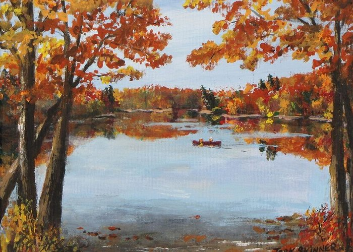 Walden Pond Greeting Card featuring the painting October Morn At Walden Pond by Jack Skinner