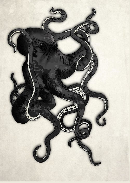 Sea Greeting Card featuring the drawing Octopus by Nicklas Gustafsson