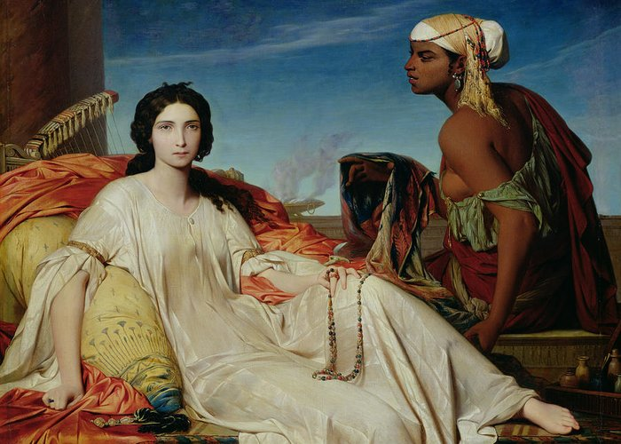 Odalisque Greeting Card featuring the painting Odalisque by Francois Leon Benouville
