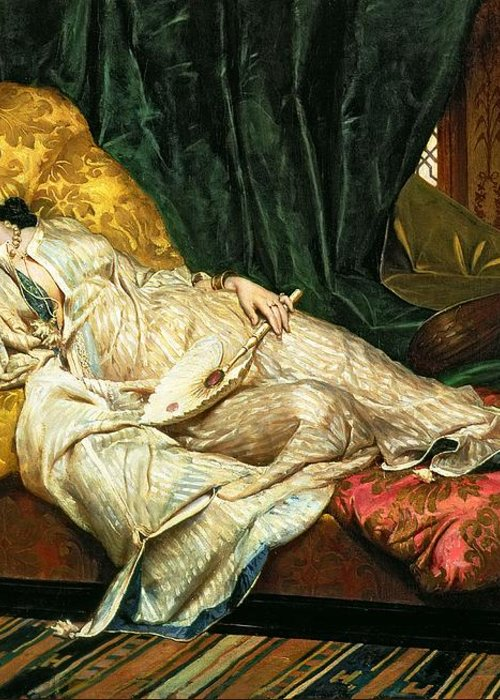 Odalisque Greeting Card featuring the painting Odalisque With A Lute by Hippolyte Berteaux