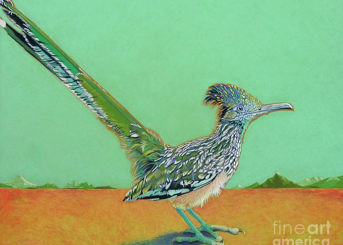 Roadrunner Greeting Card featuring the pastel Of Two Minds by Tracy L Teeter