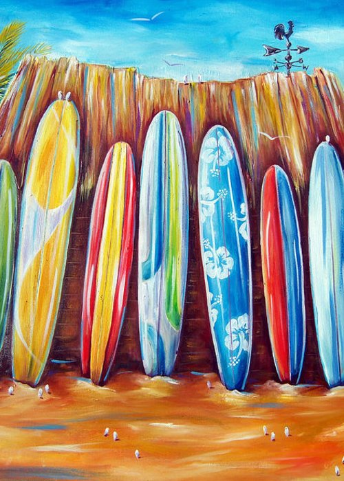 Surf Greeting Card featuring the painting Off-shore by Deb Broughton
