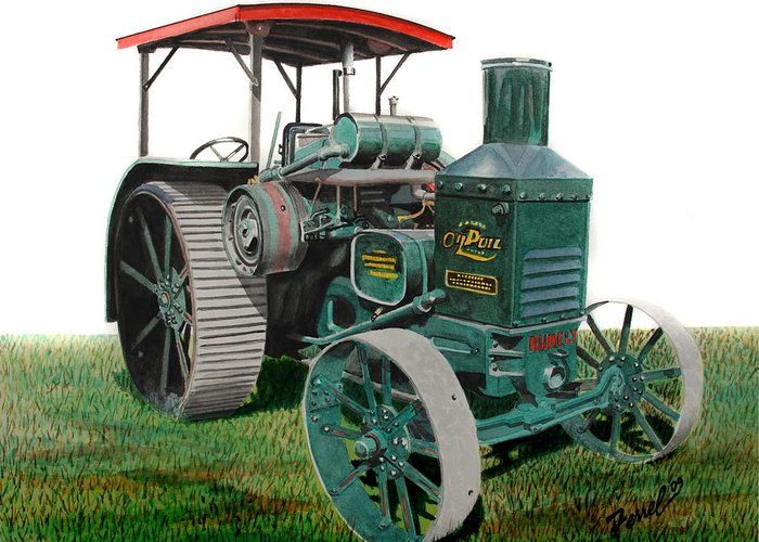 Oil Pull Greeting Card featuring the painting Oil Pull Tractor by Ferrel Cordle