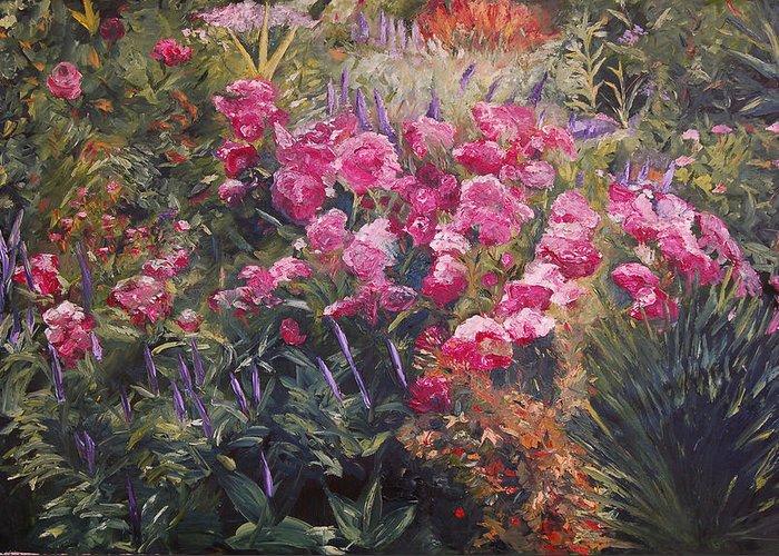 Konkol Greeting Card featuring the painting Olbrich Garden Series - Garden 1  by Lisa Konkol