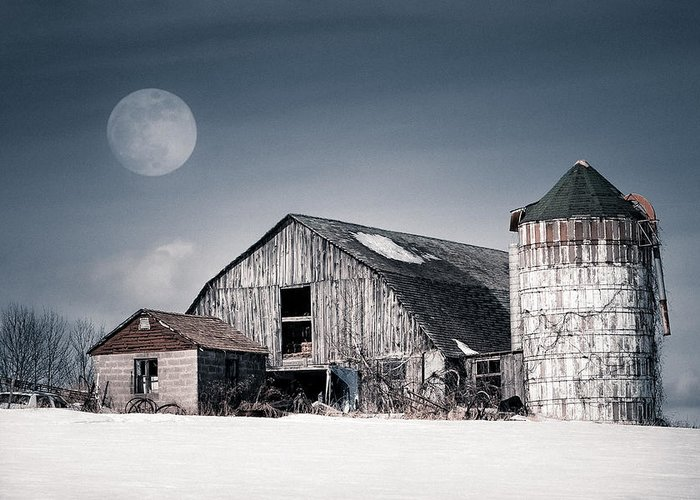Barn Greeting Card featuring the photograph Old Barn And Winter Moon - Snowy Rustic Landscape by Gary Heller