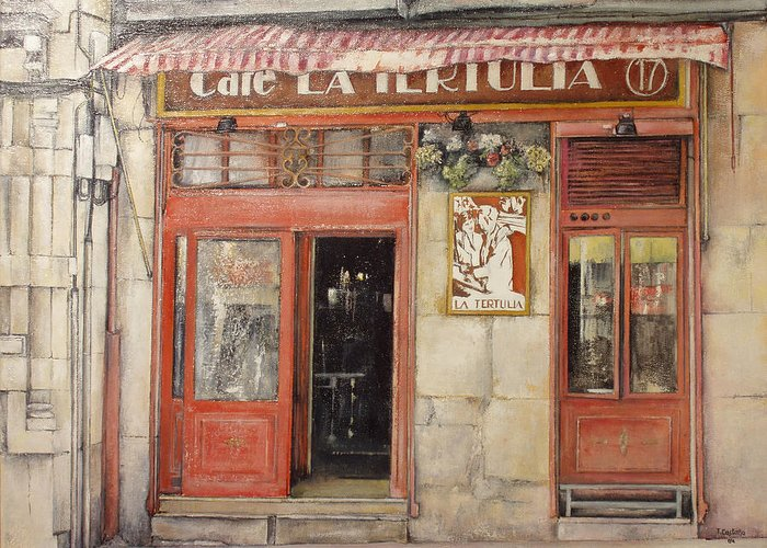 Cafe Greeting Card featuring the painting Old Cafe- Santander Spain by Tomas Castano