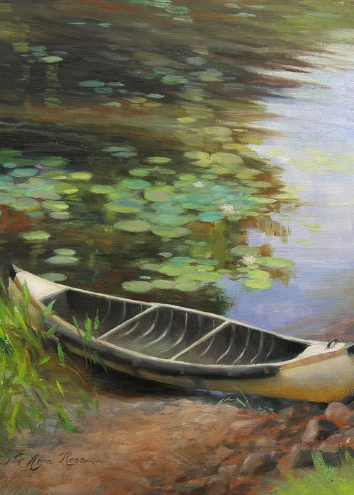 Canoe Greeting Card featuring the painting Old Canoe by Anna Rose Bain
