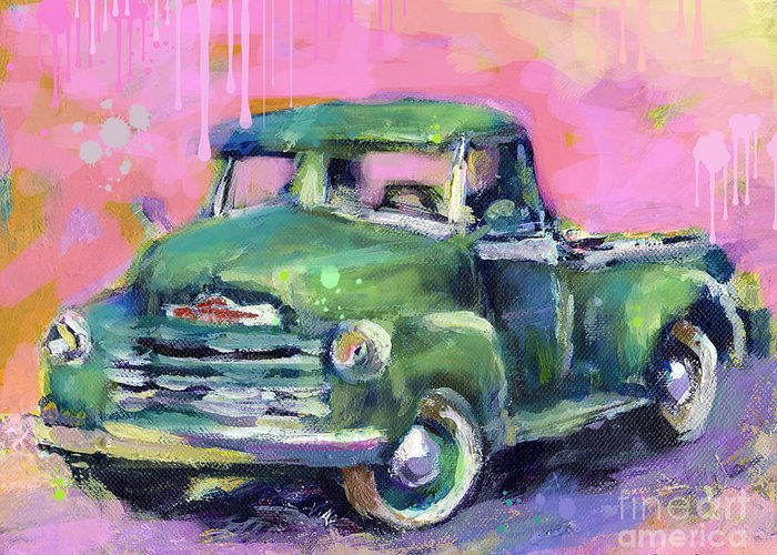 Old Chevrolet Pickup Truck Painting Prints Greeting Card featuring the painting Old Chevy Chevrolet Pickup Truck On A Street by Svetlana Novikova