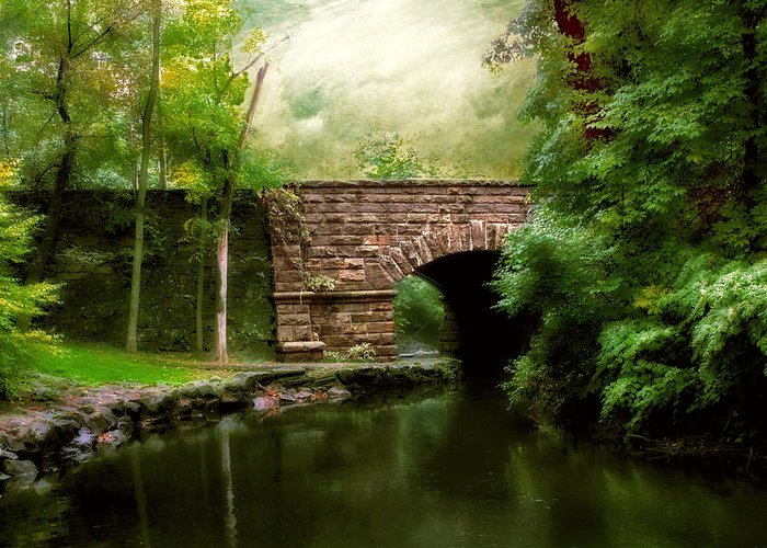 Old Countrybridge Green Art Greeting Card featuring the photograph Old Country Bridge by Jessica Jenney