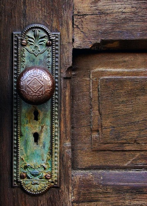 Antique Door Greeting Card featuring the photograph Old Door Knob by Joanne Coyle