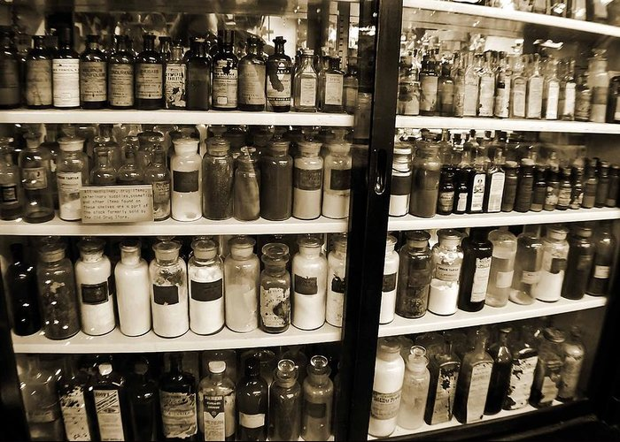 Drug Store Greeting Card featuring the photograph Old Drug Store Goods by DigiArt Diaries by Vicky B Fuller
