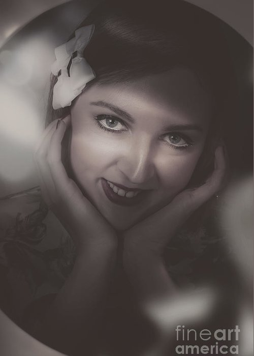 Portrait Greeting Card featuring the photograph Old Film Noir Photo On The Face Of A 1920s Lady by Jorgo Photography - Wall Art Gallery