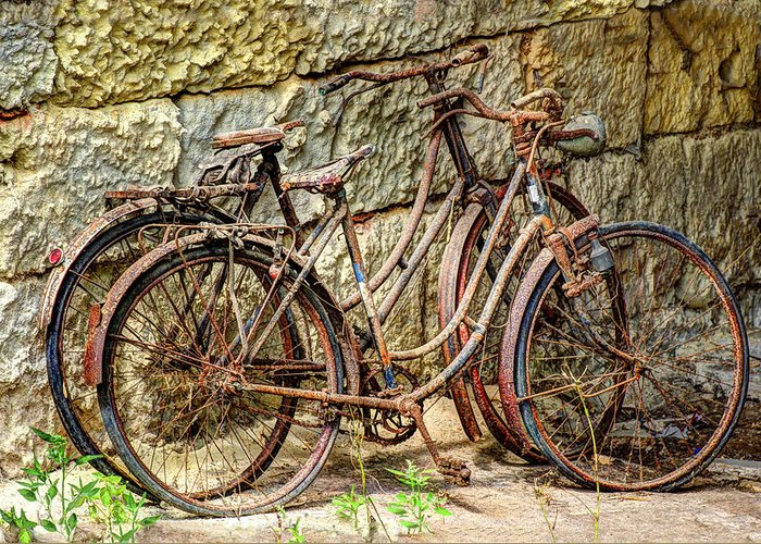 Austria Greeting Card featuring the photograph Old French Bicycles by Debra and Dave Vanderlaan