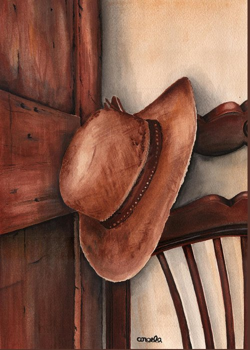 Country Greeting Card featuring the painting Old Garden Hat by Angela Armano