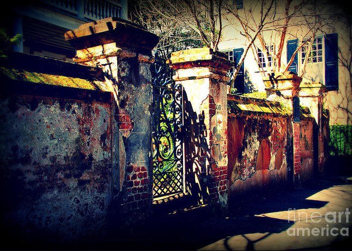 Gate Greeting Card featuring the photograph Old Iron Gate In Charleston Sc by Susanne Van Hulst