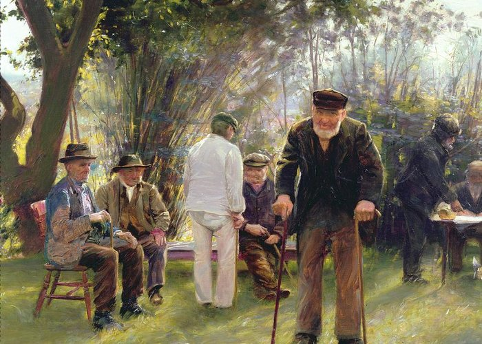 Old Greeting Card featuring the painting Old Men In Rockingham Park by Walter Bonner Gash