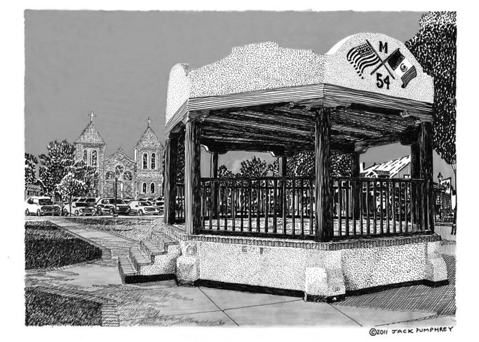 Framed Prints Of Old Mesilla Greeting Card featuring the drawing Old Mesilla Plaza And Gazebo by Jack Pumphrey