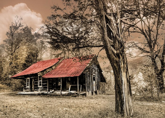 Appalachia Greeting Card featuring the photograph Old Mountain Cabin by Debra and Dave Vanderlaan