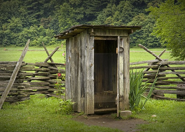 Art Greeting Card featuring the photograph Old Outhouse On A Farm In The Smokey Mountains by Randall Nyhof