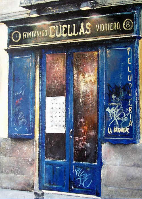 Old Greeting Card featuring the painting Old Plumbing-madrid by Tomas Castano
