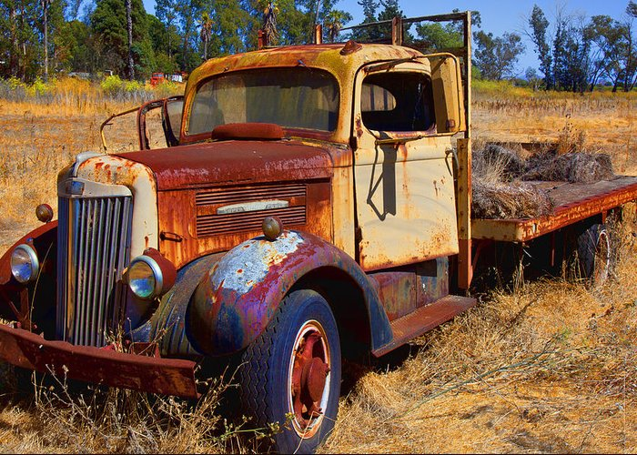 Truck Rusty Transportation Broken Down Greeting Card featuring the photograph Old Rusting Flatbed Truck by Garry Gay