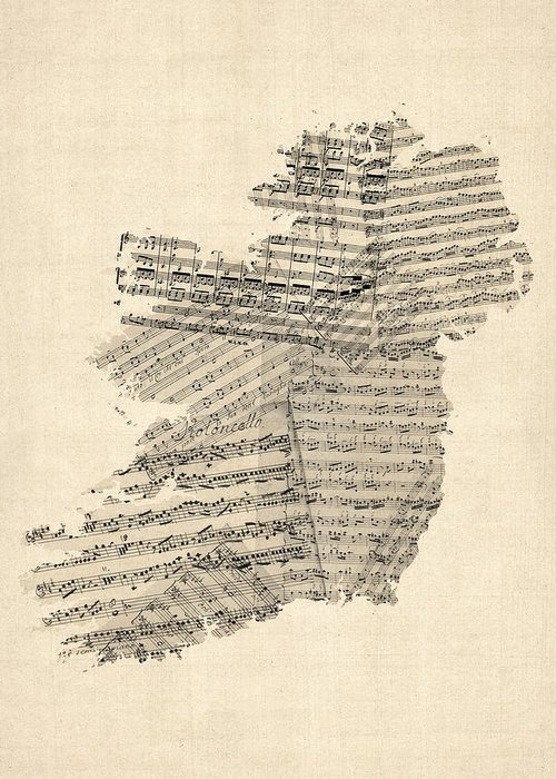 Ireland Map Greeting Card featuring the digital art Old Sheet Music Map Of Ireland Map by Michael Tompsett
