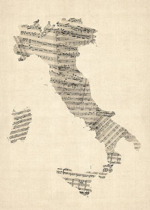 Italy Map Greeting Card featuring the digital art Old Sheet Music Map Of Italy Map by Michael Tompsett