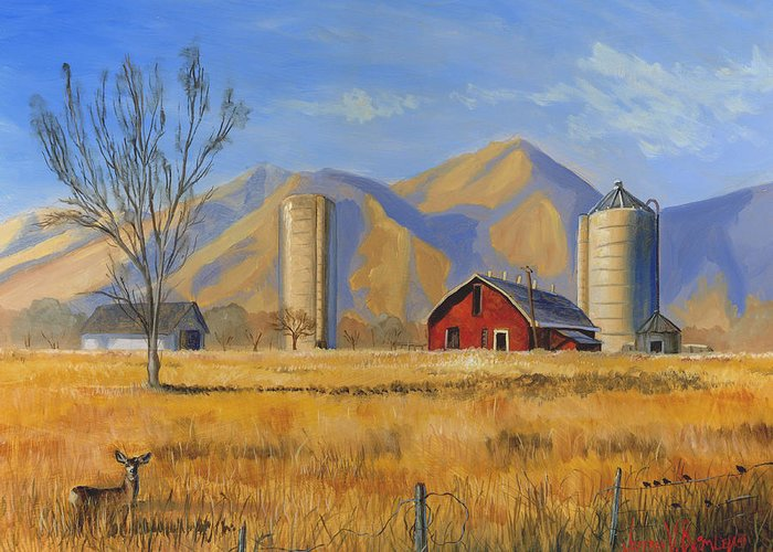 Red Greeting Card featuring the painting Old Vineyard Dairy Farm by Jeff Brimley