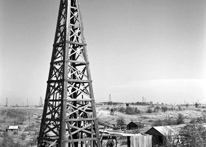 Oilfield Greeting Card featuring the photograph Old Wooden Derrick by Larry Keahey