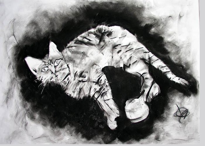 Kitten Greeting Card featuring the drawing Olive by Brad Wilson