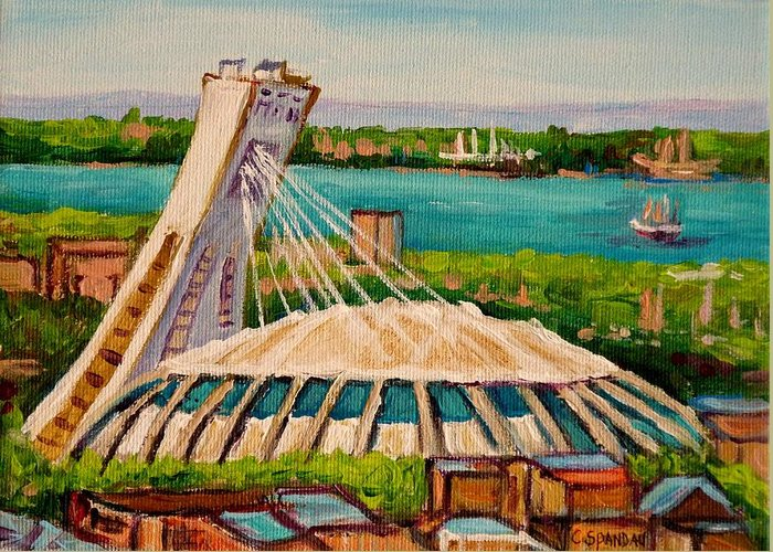 The Olympic Stadium Greeting Card featuring the painting Olympic Stadium Montreal by Carole Spandau