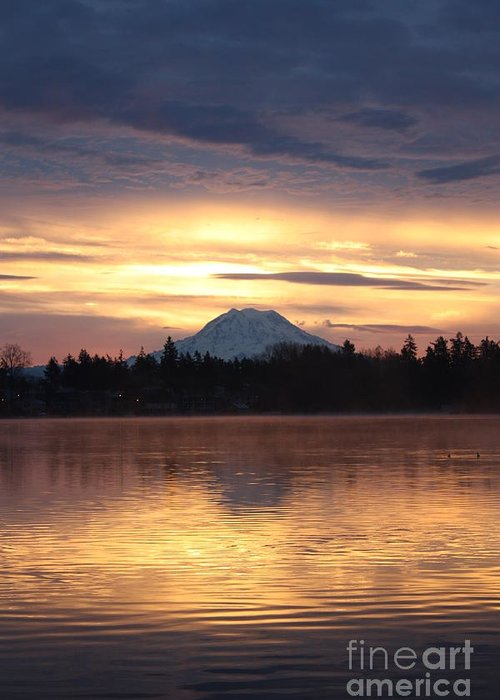 Mt. Rainier Greeting Card featuring the photograph On American Lake by C E Dyer