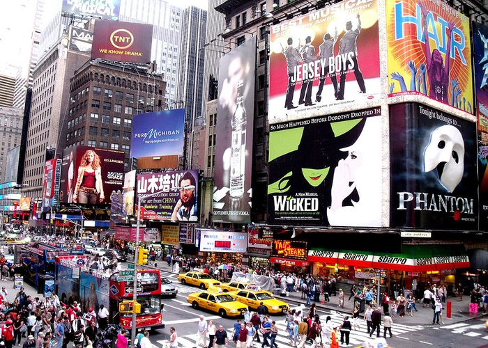 Nyc Greeting Card featuring the painting On Broadway New York by Rosie Brown