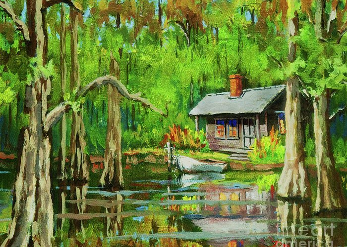 Bayou Greeting Card featuring the painting On The Bayou by Dianne Parks