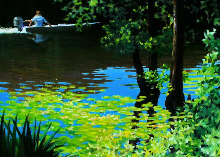 Calcasieu River Greeting Card featuring the painting On The Calcasieu by Kevin Lawrence Leveque