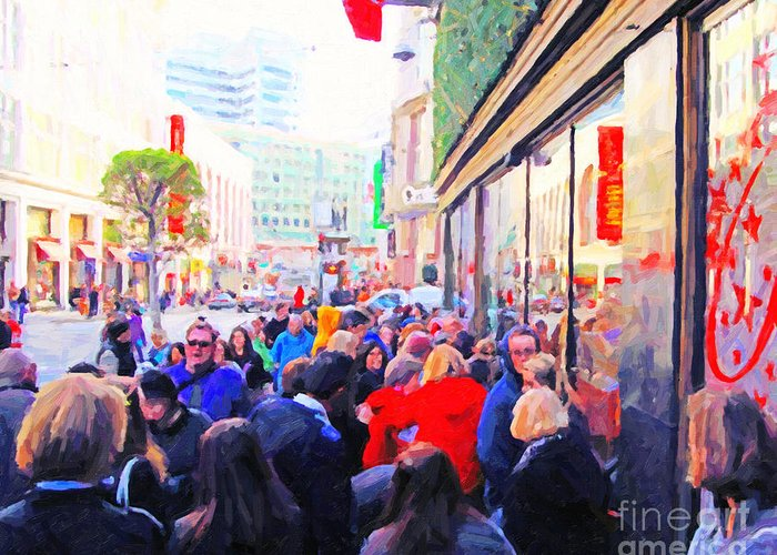 Powell Street Greeting Card featuring the photograph On The Day Before Christmas . Stockton Street San Francisco . Photo Artwork by Wingsdomain Art and Photography