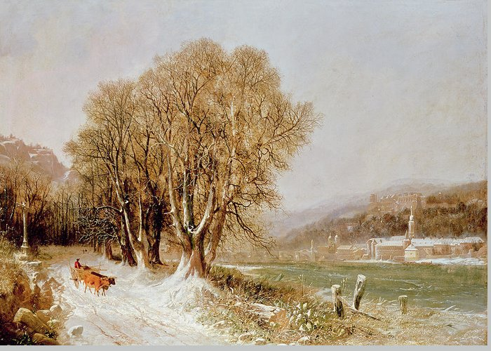 The Greeting Card featuring the painting On The River Neckar Near Heidelberg by Joseph Paul Pettit