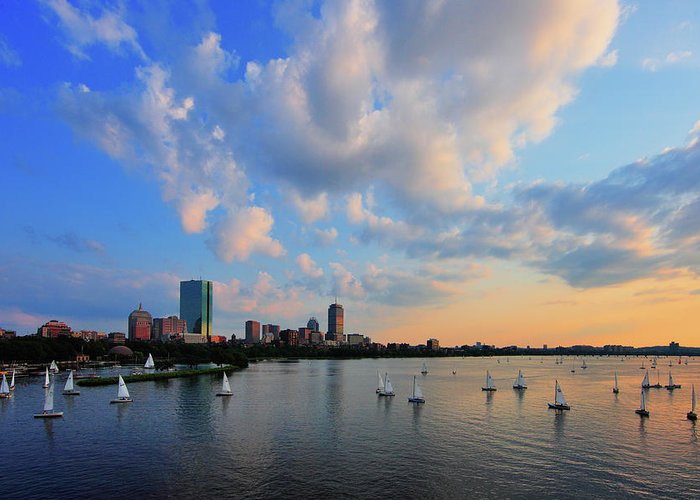 Longfellow Bridge Greeting Card featuring the photograph On The River by Rick Berk