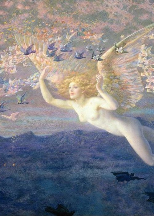 Nude Greeting Card featuring the painting On The Wings Of The Morning by Edward Robert Hughes