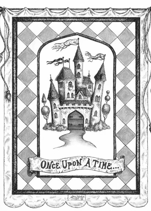 Art Greeting Card featuring the drawing Once Upon A Time by Adam Zebediah Joseph
