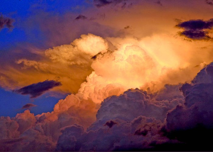 Fine Art Clouds Picture. Fine Art Greetig Cards. Sunset Greeting Cards. Fin Art Sunset Greeting Cards. Sunset Canvas Prints. Red Clouds. Fine Art Sky And Cloud Picture. Fine Art Storm Picture. Blue Sky. Rain Clouds.sunset Picture. Weather Clouds. Summer Clouds.  Greeting Card featuring the photograph One Cloudy Afternoon by James Steele