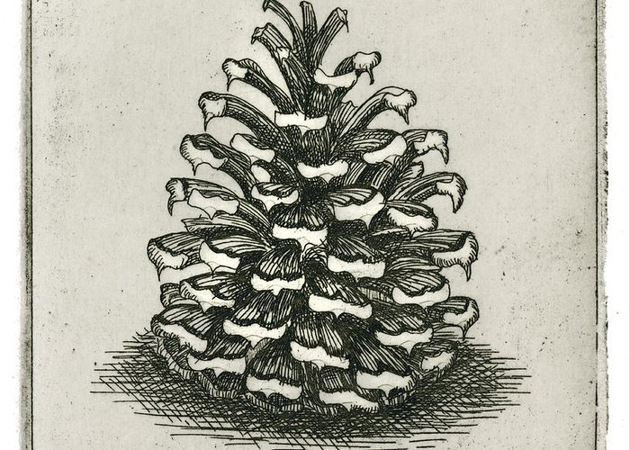 Charles Harden Greeting Card featuring the drawing One Pinecone by Charles Harden