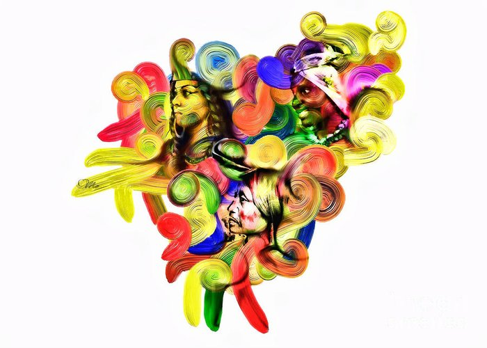 Heart Greeting Card featuring the digital art One United by Mo T