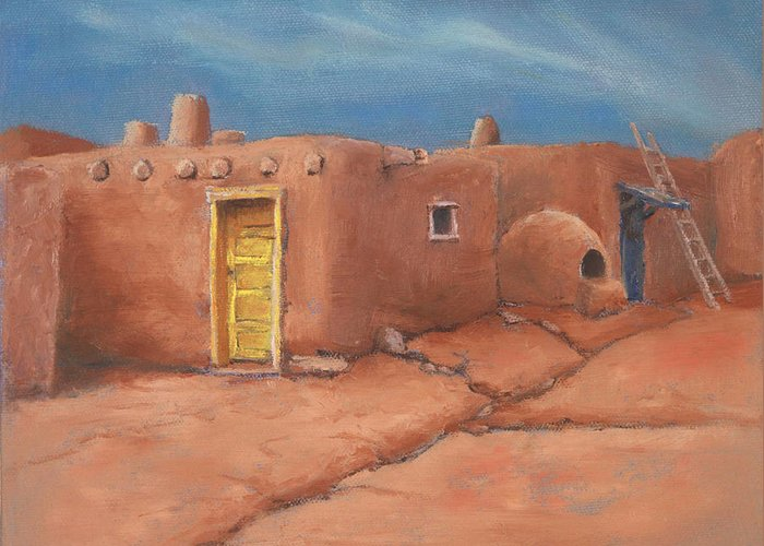 Taos Greeting Card featuring the painting One Yellow Door by Jerry McElroy