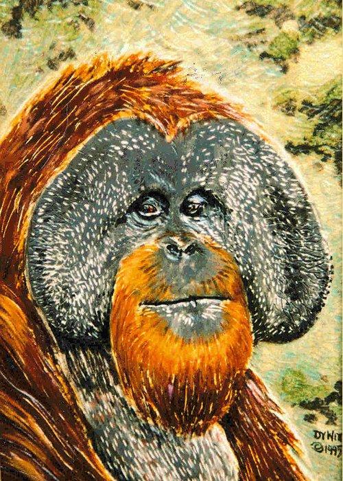 Orangutan Greeting Card featuring the relief Orang Utan by Dy Witt
