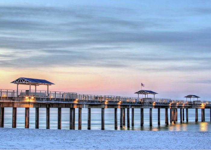 Gulf Shores Greeting Card featuring the photograph Orange Beach Pier by JC Findley