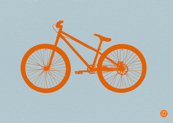 Bicycle Greeting Card featuring the drawing Orange Bicycle by Naxart Studio