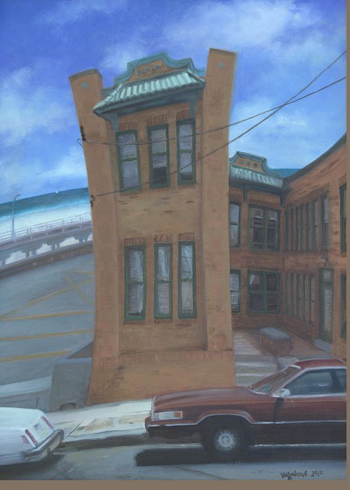 Old House Greeting Card featuring the painting Oriental Avenue by Suzn Smith