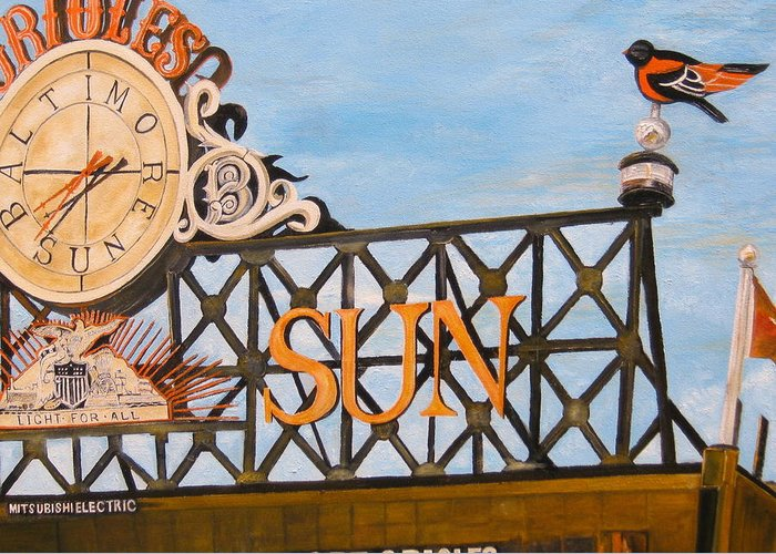 Orioles Greeting Card featuring the painting Orioles Scoreboard At Sunset by John Schuller